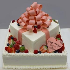 チョコレートリボンのウエディングケーキ