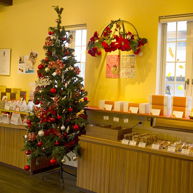 クリスマスツリーと店内