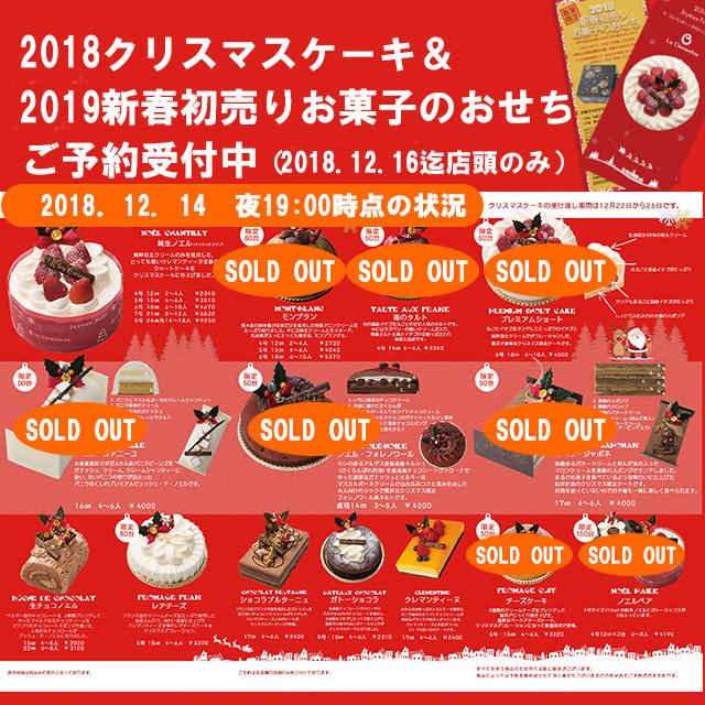 クリスマスケーキ受付状況2018.12.14時点