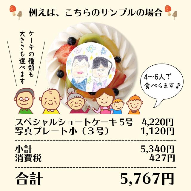 写真ケーキのお値段一例(しゅぺしゃるショートケーキ5号+写真プレート小)